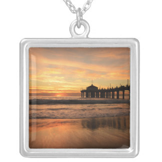 Colar Banhado A Prata Por do sol da praia do cais