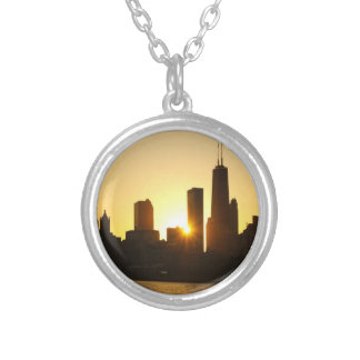 Colar Banhado A Prata Por do sol da skyline de Chicago