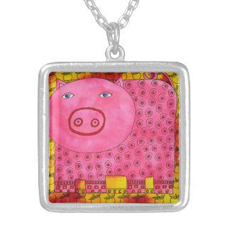 Colar Banhado A Prata Porco modelado