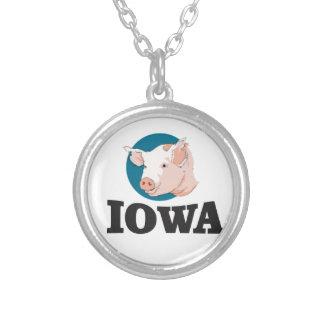 Colar Banhado A Prata porcos de iowa