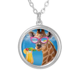 Colar Banhado A Prata Praia do girafa - girafa engraçado