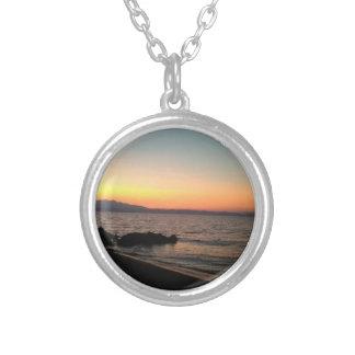 Colar Banhado A Prata Prata da foto do mar do por do sol chapeada em