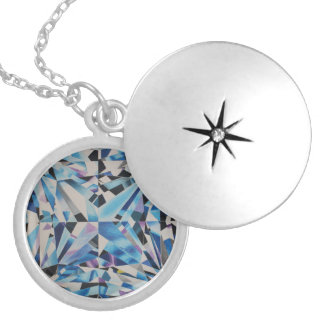 Colar Banhado A Prata Prata média do diamante de vidro chapeada em volta