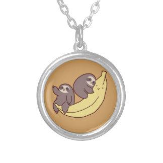 Colar Banhado A Prata Preguiças gigantes da banana