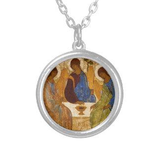 Colar Banhado A Prata Presente católico bizantino de Rublev do ícone da