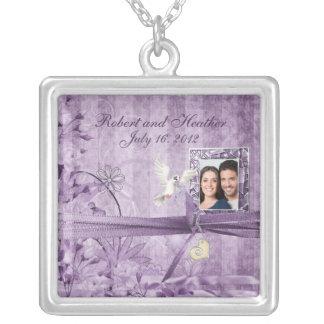 Colar Banhado A Prata Presente de casamento floral da foto da lavanda