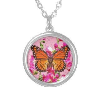 Colar Banhado A Prata Presentes florais Cor-de-rosa-Cinzentos Sharles da