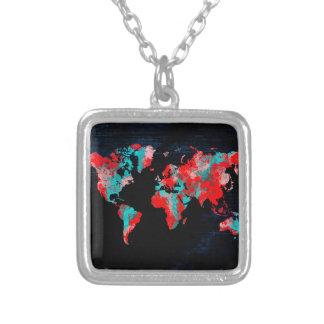 Colar Banhado A Prata preto vermelho do mapa do mundo