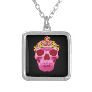 Colar Banhado A Prata Princesa cor-de-rosa Crânio