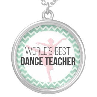 Colar Banhado A Prata Professor da dança do mundo o melhor - hortelã