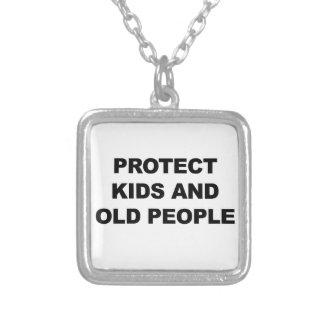 Colar Banhado A Prata Proteja miúdos e pessoas adultas