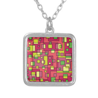 Colar Banhado A Prata Quadrado-fundo cor-de-rosa