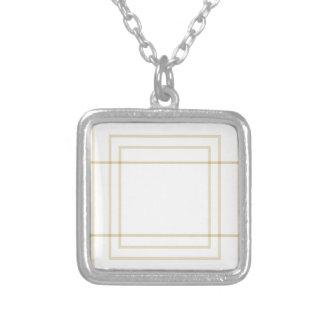 Colar Banhado A Prata Quadrados concêntricos do ouro geométrico