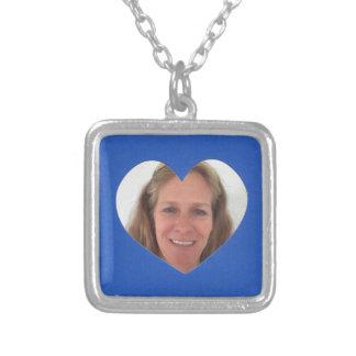 Colar Banhado A Prata Quadro azul da foto do coração