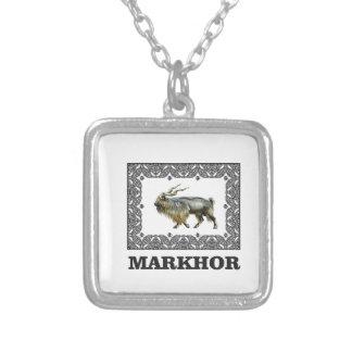 Colar Banhado A Prata Quadro ornamentado do Markhor