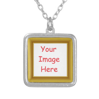 Colar Banhado A Prata Quadro personalizado costume da imagem & do ouro