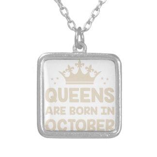 Colar Banhado A Prata Rainha de outubro