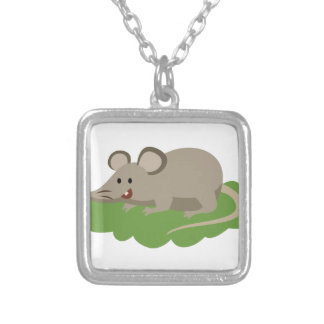 Colar Banhado A Prata rato bonito do rato