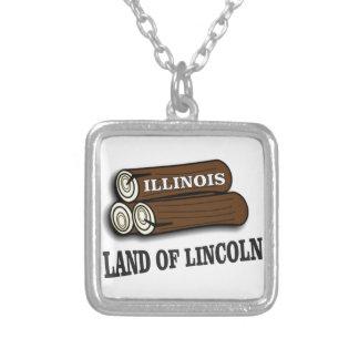 Colar Banhado A Prata Registros de Illinois de Lincoln