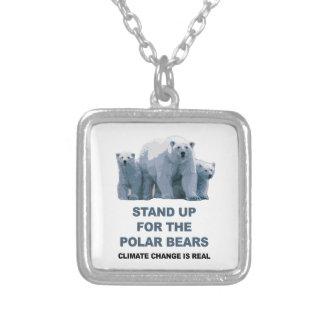 Colar Banhado A Prata Represente acima os ursos polares
