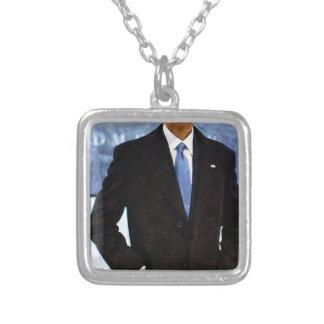 Colar Banhado A Prata Retrato abstrato do presidente Barack Obama 10