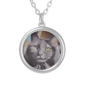 Colar Banhado A Prata Retrato cinzento do animal de estimação do gato