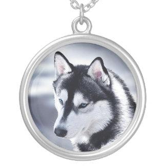 Colar Banhado A Prata Retrato do cão do rouco Siberian