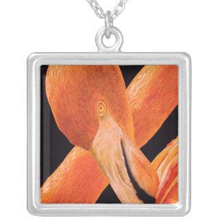 Colar Banhado A Prata Retrato do flamingo