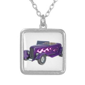 Colar Banhado A Prata Roadster de 1932 roxos com chama