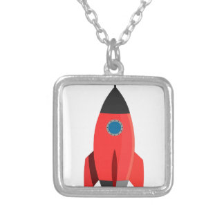 Colar Banhado A Prata Rocket vermelho