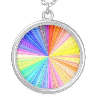 Colar Banhado A Prata Roda da máscara da cor - extremo do arco-íris