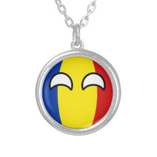 Colar Banhado A Prata Romania Geeky de tensão engraçado Countryball
