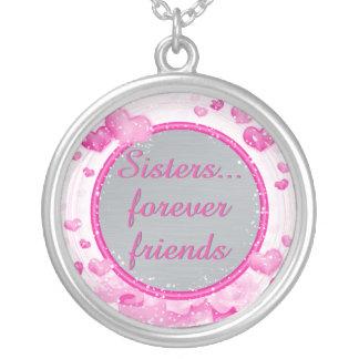 Colar Banhado A Prata Rosa inspirado dos amigos das citações   das irmãs