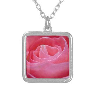 Colar Banhado A Prata Rosa Unfurling do rosa