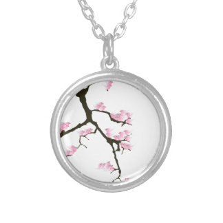 Colar Banhado A Prata sakura com os pássaros cor-de-rosa por fernandes