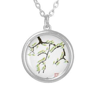Colar Banhado A Prata sakura com pássaros verdes, fernandes tony
