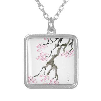 Colar Banhado A Prata sakura com peixe dourado cor-de-rosa, fernandes