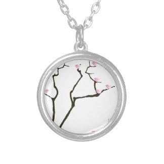 Colar Banhado A Prata sakura e 7 pássaros cor-de-rosa 1, fernandes tony