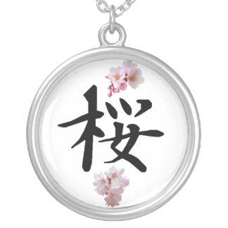 Colar Banhado A Prata Sakura - flor de cerejeira