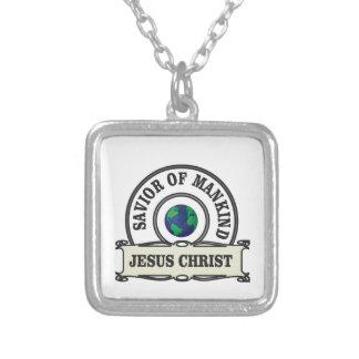 Colar Banhado A Prata salvador do cristo de toda a humanidade