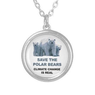 Colar Banhado A Prata Salvar os ursos polares