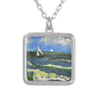 Colar Banhado A Prata Seascape em Saintes-Maries, Van Gogh