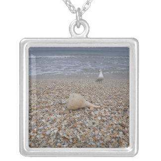 Colar Banhado A Prata Seashells e gaivota de mar