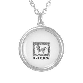 Colar Banhado A Prata selo do leão