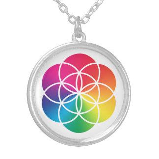 Colar Banhado A Prata Semente do arco-íris de Chakras do símbolo da vida