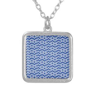 Colar Banhado A Prata semi mosaico do azul do círculo