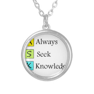 Colar Banhado A Prata sempre um conhecimento da busca k de s