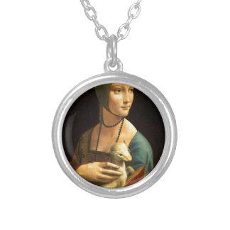 Colar Banhado A Prata Senhora da pintura de Da Vinci original com um