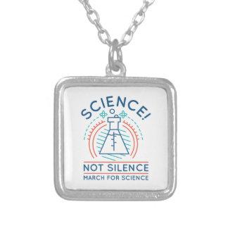 Colar Banhado A Prata Silêncio da ciência não