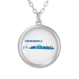 Colar Banhado A Prata Silhueta da skyline de San Francisco